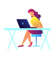 female programmer working on laptop vector image