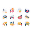 foodstuffs isometric icons set vector image