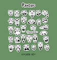 funny pandas collection sticker set for your vector image vector image