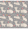 Funny seamless pattern with cute cats vector image vector image