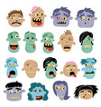funny zombie avatar icon set in cartoon style vector image vector image