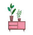 furniture with potted plants decoration isolated vector image vector image