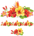 garland tropical flowers vector image vector image