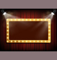 gold frame with light bulbs on red velvet curtain vector image