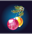 green spruce branch with toy balls isolated vector image vector image