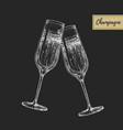 hand drawing two clinking champagne glasses vector image