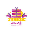 happy diwali logo design hindu festival of lights vector image vector image