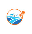 home palm tree icon logo vector image vector image