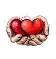 human hands hold 2 red hearts - a symbol love vector image