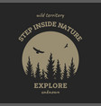 journey into wild badge t-shirt design on a vector image vector image