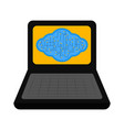 laptop with a cloud technology vector image vector image