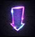 neon glow arrow pointer on brick wall background vector image vector image