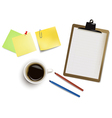 office supplies and cup of coffee vector image