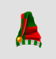 realistic elf hat isolated on white background vector image vector image