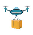 remote air drone with a box flying delivery of the vector image