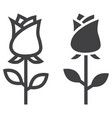 rose flower line and glyph icon vector image