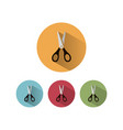 scissors icon with shadow on colored circles vector image vector image