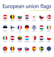 set european union flags with names 27 flags vector image vector image
