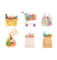 shopping bags with foods grocery purchases paper vector image vector image