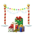 Street lights and gift boxes Christmas time vector image vector image