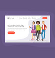 student community landing page template online vector image vector image