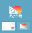 sunrise logo hotel and resort sun business card vector image