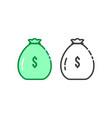 thin line set of money bag logo vector image vector image