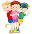 Three boys playing game vector image vector image