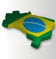 Three dimensional map of Brazil in flag colors vector image