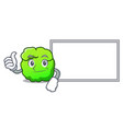 thumbs up with board shrub character cartoon style vector image