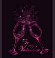 two pink glittering glasses of champagne vector image vector image