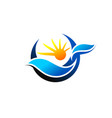 waves and sunlight logo symbol icon design vector image