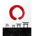 Zen circle and Japan landscape vector image vector image