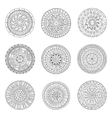 Round ornaments set of doodle mandalas vector image
