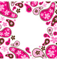 paisley pink frame vector image
