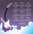 2014 clouds guitar Calendar vector image