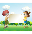 A boy and a girl holding an empty signage vector image vector image