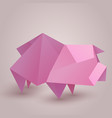 a paper origami pig paper zoo element f vector image