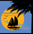 a tropical evening sunset with palm tree vector image