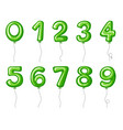 balloon numbers zero to nine in green color vector image