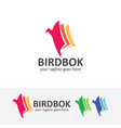 bird book logo design vector image vector image