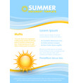 Blue and yellow document template with summer sun