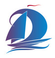 blue yacht with a sail vector image vector image
