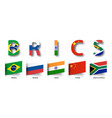 brics association of 5 countries and flags vector image vector image