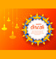 burning diya on happy diwali holiday background vector image