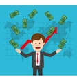 Businessman with bills and infographic design vector image