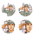 cemetery salute soldier pop art avatar icon vector image vector image