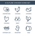 chicken icons vector image vector image
