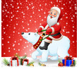 christmas background with santa riding polar bear vector image vector image