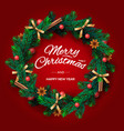 christmas wreath made of naturalistic looking vector image vector image